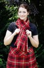 """Team Colors - Tartan Scarf made using our acrylic fabric, this piece has a 2"""" fringe on either end, and a smaller fringe on the sides to add softness and flexibility comes in georgia state, atlanta united, and georgia tech team colors. Atlanta Kilts Unite"""